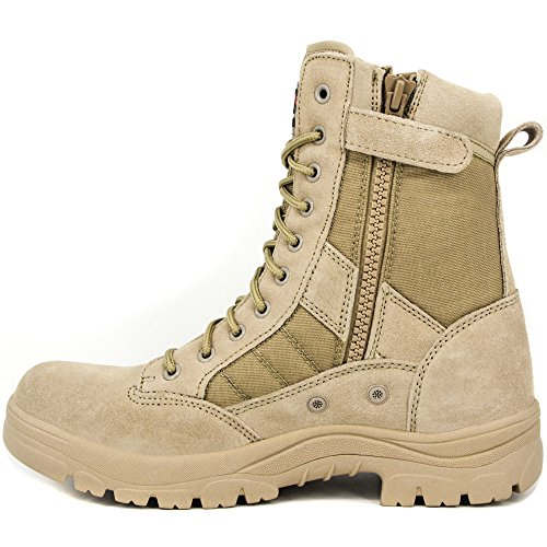 WIDEWAY Men's 8'' Inch Military Tactical Boots Full Grain Leather for Police Duty Water Resistant Boots with Side Zipper, Sand