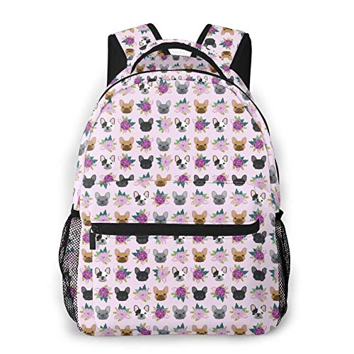 NiYoung Unisex Backpack Multipurpose Rucksack Anti Theft Backpacks with Padded Straps Big Capacity Backpack French Bulldog Frenchie Florals Pink Fashion Backpack