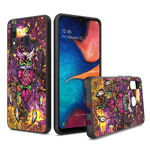 UNC Pro Cell Phone Case for Samsung Galaxy A20 / A30 / A50, Owl Dreamcatcher Gold Foil Embedded Dual Layer TPU Hybrid Case, Shockproof Bumper Anti-Scratch Cover