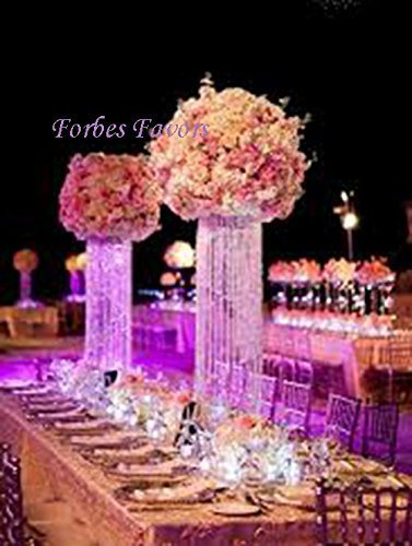 """Forbes Favors ™ 20"""" Glamorous Column Enchanted Chandelier with Battery LED Lights Centerpiece Wedding, Birthday, Annivesary & Special Occasion Centerpiece"""