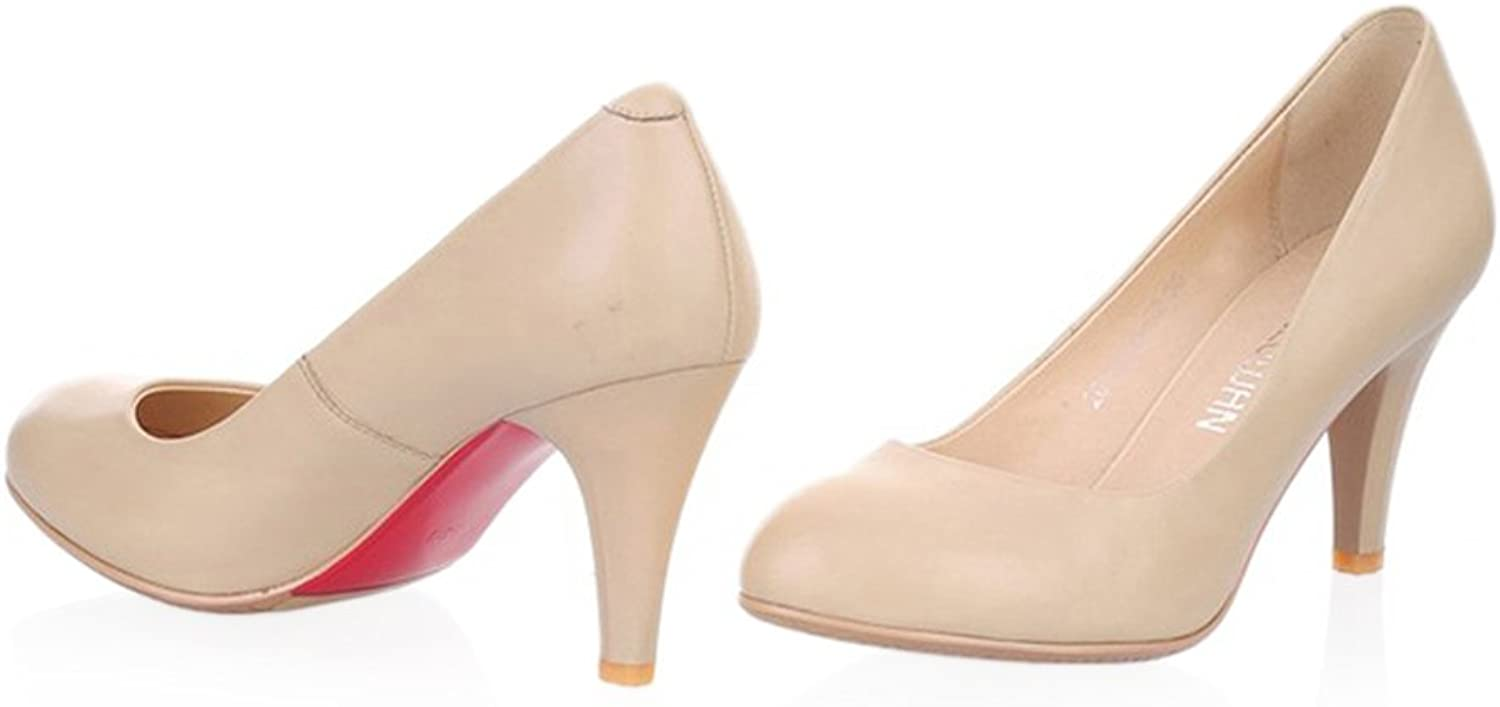 Plain Thin shoes All-match High Heel Low-cut Round Last Plus Size white