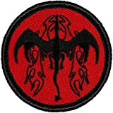 Retro Red and Black Flame Breathing Dragon Patrol Patch - 2' Round