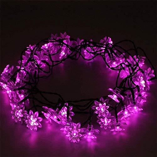 Romantisch Luz de Navidad, calle solares Garland llevó las luces, Lotus aire libre luces de cadena for la decoración de jardín y terraza Weihnachtsdekoration (Color : Pink)