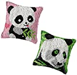 Kits de Ganchillo 2 juegos de gancho de pestillo, estuche de cojín impreso encantador patrón de panda cubierta de almohada haciendo Kit de artesanía Kit de punto de cruz para la decoración del sofá de