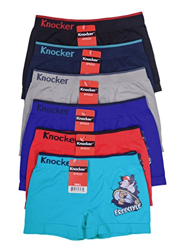 Knocker Youth Boys Sports Soccer Seamless Underwear - 6 Pair Multipack (Small, Skateboarding)