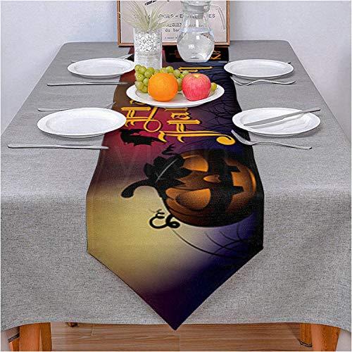 VFGHH Camino De Mesa,Mantel Lavable De Calabaza De Halloween De Estilo Europeo para Mantel De Cocina, Mantel para Fiestas, Restaurantes, Decoración para El Hogar, 36 * 183 Cm