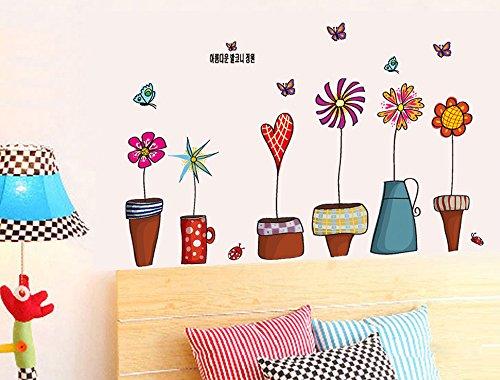 ufengke Fumetto Piante in Vaso Colorato Adesivi Murali, Camera da Letto Soggiorno Adesivi da Parete Removibili/Stickers Murali/Decorazione Murale