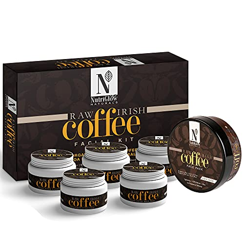 NutriGlow Natural's Raw Irish Coffee Facial Kit (250 gm) With Coffee Face Pack (200 gm)/ Deep Pore Cleanser/Glowing Skin/Tightening Pores/Yogurt Extract with Mint