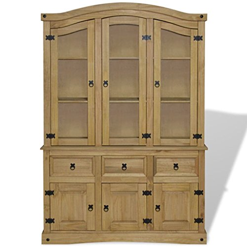 Festnight Buffet Server Sideboard and Hutch with Storage Drawers and Cabinet Mid Century Free Standing Wood Display Cabinet for Kitchen Dining Room Living Room Home Furniture