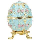 Huevos de Pascua Decorativos Caja de baratijas, Organizador de Joyas de Huevo de Fabergé esmaltado Pintado a Mano Soporte de Anillo de joyería con bisagras de Cristal Decoración
