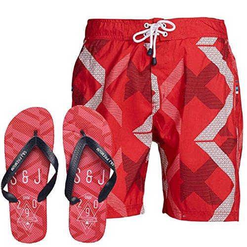 Smith and Jones - Pantalón corto - para hombre Rojo rosso X-Large