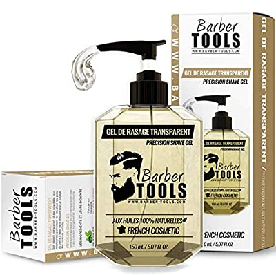 Transparent shaving gel 150 ml - For a precise shave of the beard contours (visibility, sliding and maximum protection) - MADE IN FRANCE ✮ BARBER TOOLS ✮