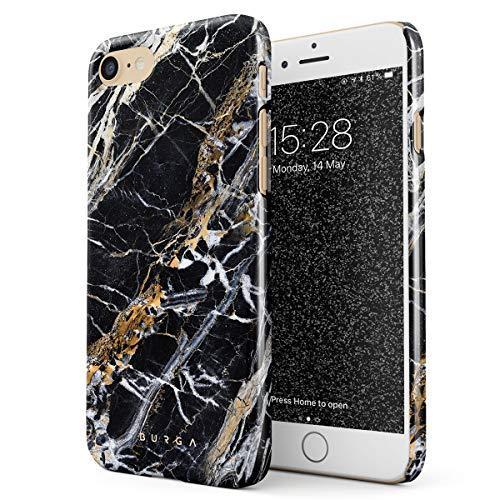 BURGA Hülle Kompatibel mit iPhone 7/8 / SE 2020 - Handy Huelle Schwarz Mit Gold Onyx Marmor Muster Black Gold Marble Mädchen Dünn Robuste Rückschale aus Kunststoff Handyhülle Schutz Case Cover
