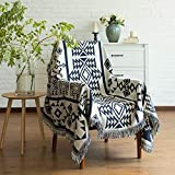 Y-PLWOMEN Boho Throw Blanket - Cotton Woven Southwestern Tassels Cozy Reversible Throw Blanket Multi-Function for Couch Chair Sofa Bed Outdoor Travel Camping (Navy Blue&White, 50'x70')