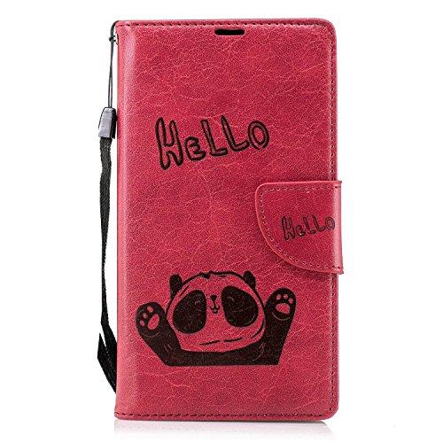 Anfire Tasche Hülle für Sony Xperia L2, Leder Wallet Schutzhülle PU Lederhülle Flip Hülle Handyhülle Ständer Etui Schale Ultra Slim mit Kartenfach Magnetisch Silikon Backcover, Rot Hello Panda