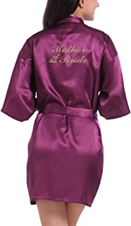 Lovacely Women's Satin Kimono Robe for Bride, Bridesmaid, Mother of The Bride Wedding Party Short Robes with Gold Glitter