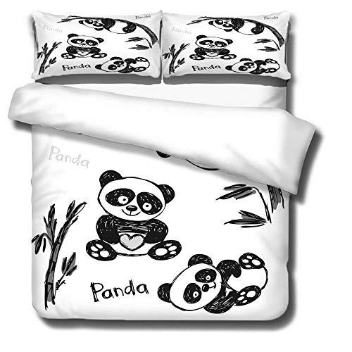 IJBSDJI Superking Duvet Covers Black Panda Easy Care Machine Washable Ultra Soft Duvet Cover Set With 2 Pillowcases