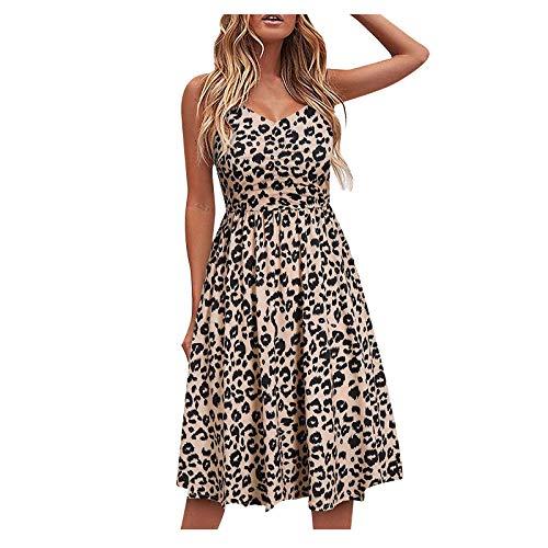 Qigxihkh Mode Damen gedruckt High Waist Sling Kleid Casual V-Neck Pullover Midi Kleid(3-Braun, M)
