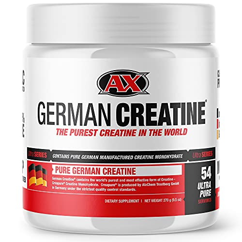 German Creatine (Pure Creapure, The Purest Creatine Monohydrate Available) -- 270g (54 Servings) | Micronized Creatine from Germany