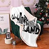 Portland Sherpa Fleece Blanket,Famous Landmarks in Oregon State Buildings Mount Hood and Hawthorne Bridge Digital Printing Blanket,for Couch Bed Throw Blanket(60x80 Inches,Black and White)
