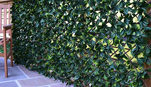 eXtreme Instant Hedging Artificial Screening Fencing Trellis Privacy Screen Garden Expanding Willow With Laurel Leaves - 2M x 1M - Can Be Extended!