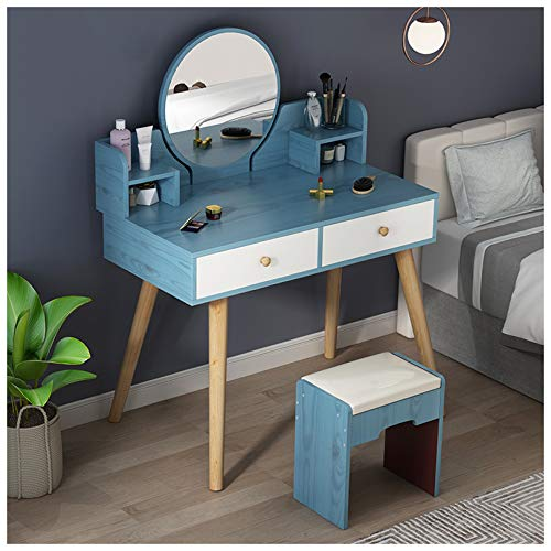 KYSZD-Uhren Schminktisch mit Spiegel und Hocker, moderner Make-up-Schreibtisch für Mädchen, schickes Schlafzimmermöbel-Make-up-Kommode