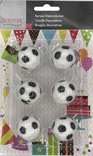 6 Kerzen * FUSSBÄLLE * für Geburtstag und Motto-Party // Kuchen Torte Deko Candle Kinder Kindergeburtstag Motto Party Fussball Fußball Soccer