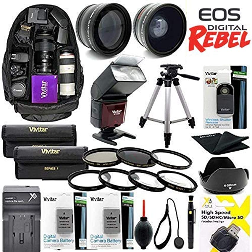 Giant All You Need HD Accessory KIT for Canon EOS Rebel SL2 Canon EOS Rebel SL3 Backpack Tripod Wide Angle Lens Zoom Lens Flash LP-E17 Batteries Charger Remote Lens Hood