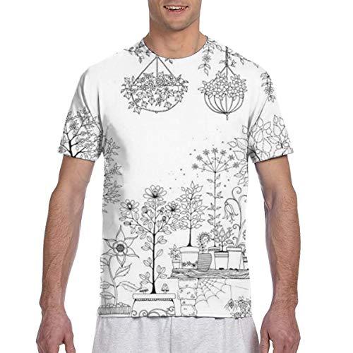 Zhgrong Uomo Tee Shirt Diooe DIY Handbemalte Blumen Graffiti Dekorative Frbung1 Manica Corta T-shirt Girocollo T Shirt