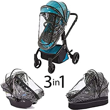 guzzie+Guss 3-in-1 Rain Cover Fits Most Bassinets Car Seats and Pod Style Stroller Seats Raincover Features Quick-Access Zipper Door and Side Ventilation