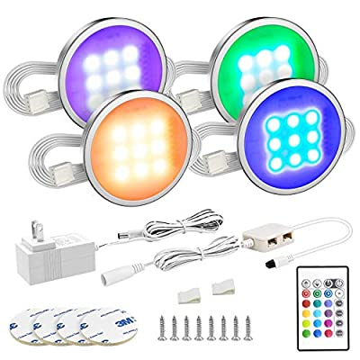 MYPLUS Under Cabinet Lighting, 4 Pcs Led Puck Lights with Remote Control Color Changing, Led Lighting Kit Magnetic Stick for Under Cabinet, Under Counter and Kitchen Shelf (RGB)
