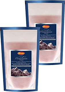 Shan Virgin Himalayan Pink Salt Fine Grain (800g) - Naturally Fortified with 84 Trace Minerals - Stand Up Pouch (Pack of 2)