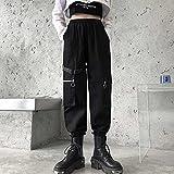 Pantalones de Trabajo con Bandas en el Tobillo Primavera para Mujer Estilo Harajuku Suelto Adelgazante Cintura Alta Deportes a Juego piernas Anchas-Negro_XXL
