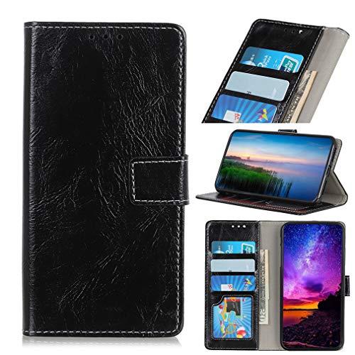 LMFULM® Hülle für HTC Desire 19 Plus (6,2 Zoll) PU Leder Magnet Brieftasche Lederhülle Retro Crazy Horse Muster Stent-Funktion Ledertasche Flip Cover für HTC 19 + Schwarz