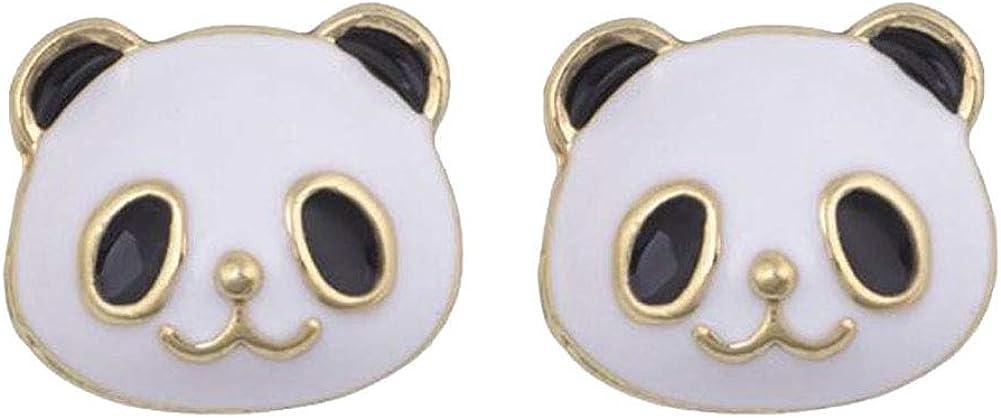 DIYear Cute Panda Clip on Earrings Enamel Animal Gold Plated Lit