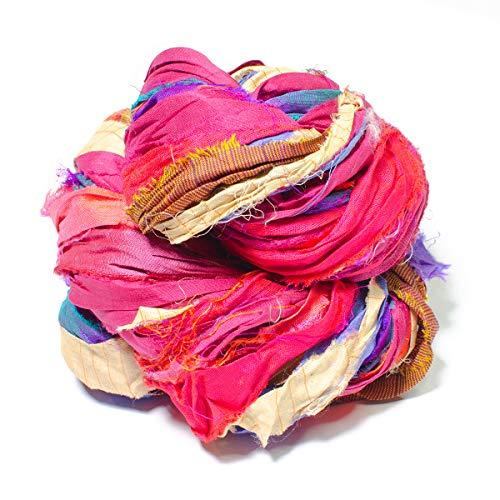 Darn Good Yarn One of a Kind Vibrant Sari Silk Ribbon Yarn Soft Colorfast Saree (Sari) Silk Yarn  