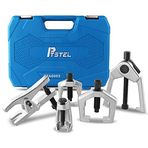 PTSTEL 5Pcs Ball Joint Separator Front End Service Tool Kit Conical Pitman Arm Puller Tie Rod End Puller Tool Set Ball Joint Remover Splitter Removal Kit with Suitcase
