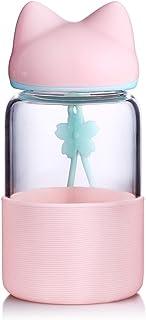 qileyin 340ml borosillicate niños botella de agua de cristal sin BPA portátil botella de deporte, ecológica, tapa con funda de silicona potable botella sb60283