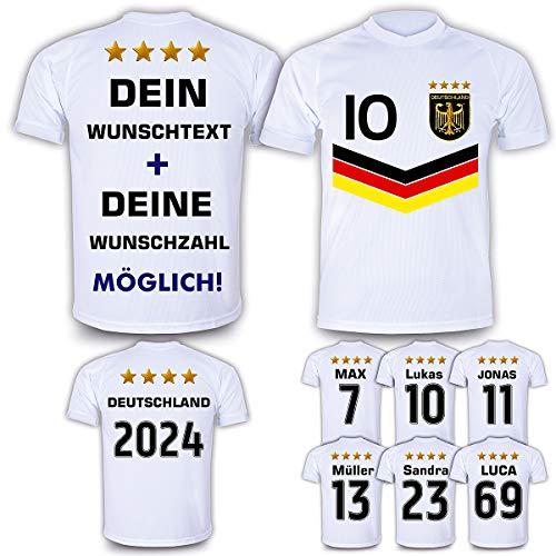 DE-Fanshop Deutschland Trikot 2021 mit GRATIS Wunschname Nummer im EM WM Weiss Typ #DV - Geschenke für Kinder Erw. Jungen Baby Fußball T-Shirt Bedrucken