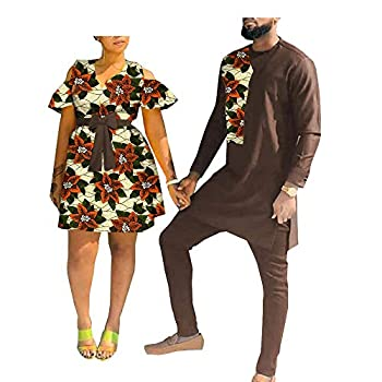 Y-CAN African Clothing for Couple African Men Clothing Shirt and Pant Set African Dresses for Women for Wedding 566 6 menL/USM