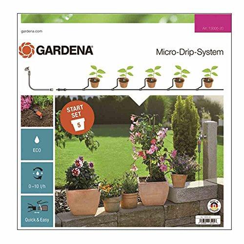 Gardena 13000-20 Set S: el prácticoSet de Inicio con Sistema Micro-Drip para 5 Plantas en Maceta, riego automático Que Ahorra Agua, Estándar