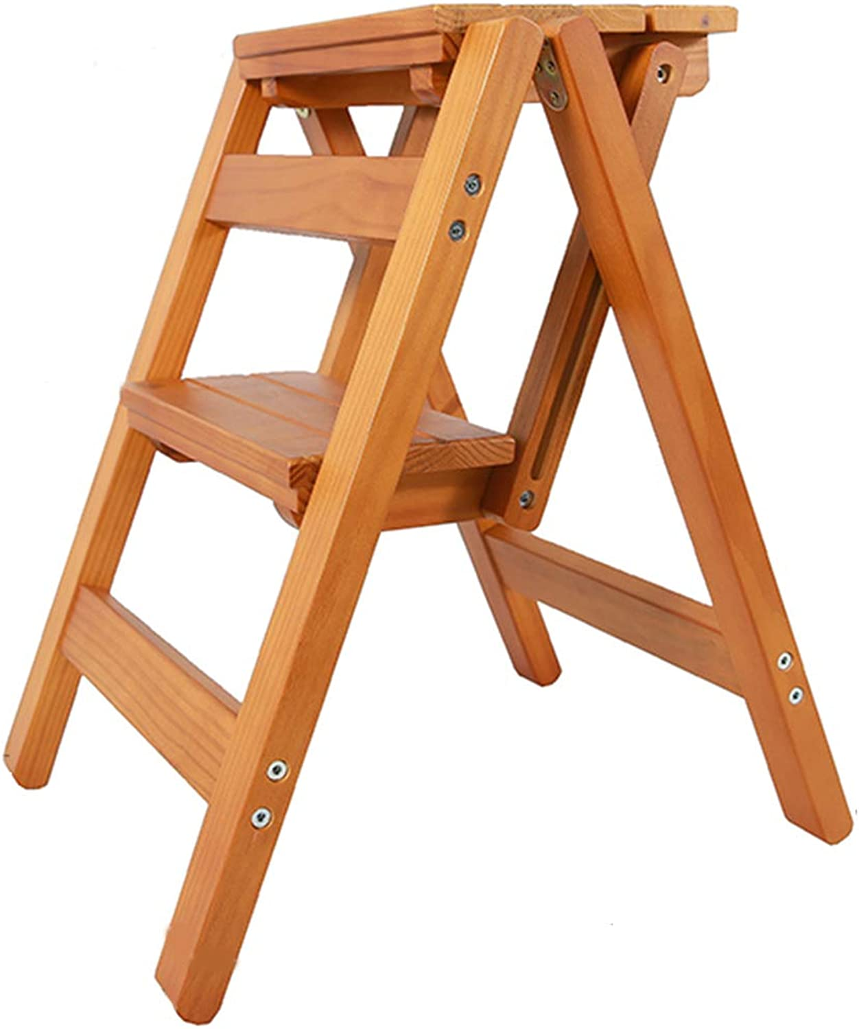 Solid Wood Step Stool 2 Layer Folding Stepladder Foot Stool