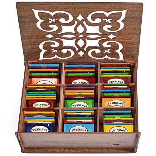 Twinings Tea Bags Sampler Assortment Box - 80 COUNT - Perfect Variety Pack in Wood (MDF) Gift Box - Gift for Family, Friends, Coworkers - (Walnut)