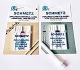 2ter Garnstift/Garnrollenhalter + Schmetz Universal und Stretch/Jersey Zwillingsnadeln für Singer Nähmaschinen Symphonie 2250 u.v.m.