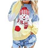 ReooLy Frauen Farbverlauf Weihnachten Pocket Print Langarm Top Pullover T-Shirt Shirt Top(Blau/Medium)