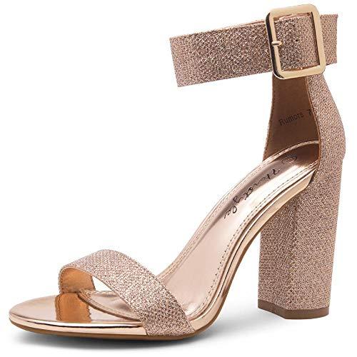 Herstyle Rumors sandália feminina de salto grosso, bico aberto, sapato de casamento com fivela e tira no tornozelo, 1901rosegoldshimmer, 5