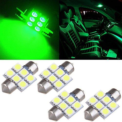 cciyu 4x Green 5050 6-SMD 31MM Festoon LED Bulb Replacement fit for Dome Map Interior LED Light DE3175 3022 3021/DE3021 1.20