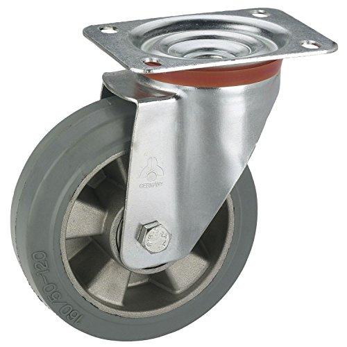 Dörner + helmer 711101 zwenkwiel met aluminium velg elastische banden 100 x 40 mm/plaat 100 x 85 mm