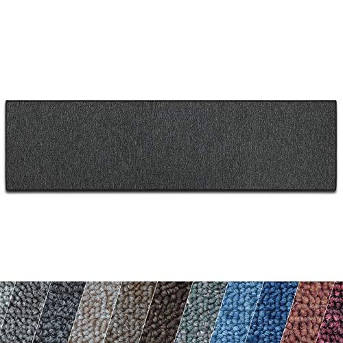casa pura Teppich Läufer London | Meterware | Teppichläufer für Wohnzimmer, Flur, Küche usw. | Flacher Schlingenflor | mit Stufenmatten kombinierbar (Anthrazit - 66x200 cm)