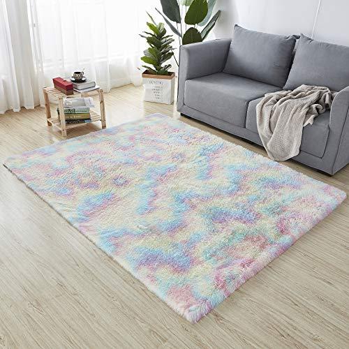 HEXIN Alfombra de Terciopelo,Alfombra de área Peluda Suave Alfombras mullidas de Interior Modernas, cómodas alfombras de Sala de Estar, Alfombra de Dormitorio(Multicolor, 120x160cm)